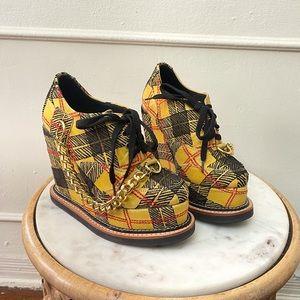 Ethik Plaid Platform Wedge Sneakers w Chain detail